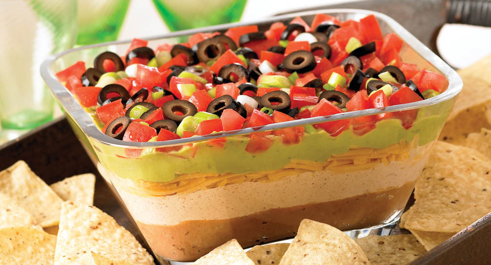 7 Layer Taco Dip And Chips Pizza